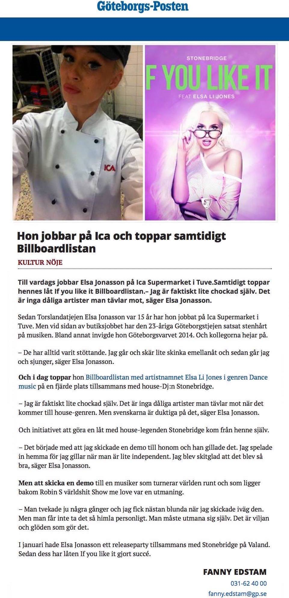 stonebridge if you like it on Billboard swedish article