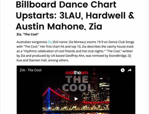 Zia Moreau Featured In Billboard With Hardwell, Austin Mahone and Elau